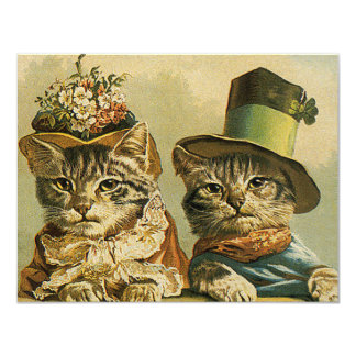 Vintage Victorian Cats in Hats, Funny Silly Humor 4.25x5.5 Paper Invitation Card