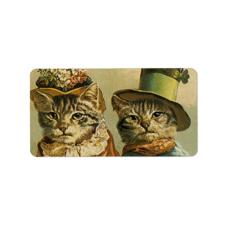 Vintage Victorian Cats in Hats, Funny Silly Humor Address Label