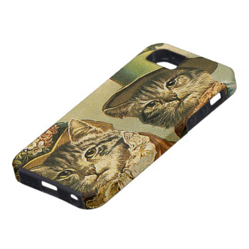 Vintage Victorian Cats in Hats, Funny Silly Humor iPhone 5 Case
