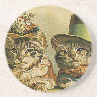 Vintage Victorian Cats in Hats, Funny Silly Humor Beverage Coaster
