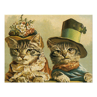 Vintage Victorian Cats in Hats Funny Silly Humor Invitations
