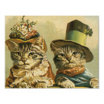 """Vintage Victorian Cats in Hats, Funny Silly Humor 4.25"""" X 5.5"""" Invitation Card"""