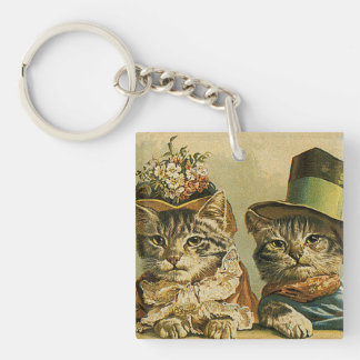 Vintage Victorian Cats in Hats, Funny Silly Humor Double-Sided Square Acrylic Keychain