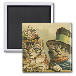 Vintage Victorian Cats in Hats, Funny Silly Humor Magnets