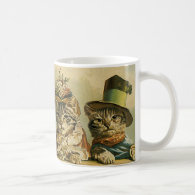 Vintage Victorian Cats in Hats, Funny Silly Humor Mug