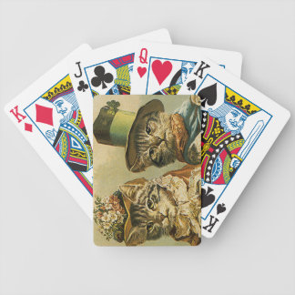 Vintage Victorian Cats in Hats, Funny Silly Humor Bicycle Playing Cards