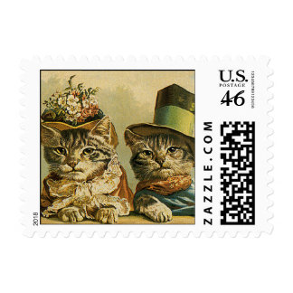 Vintage Victorian Cats in Hats Funny Silly Humor Postage Stamp