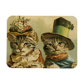 Vintage Victorian Cats in Hats, Funny Silly Humor Flexible Magnet