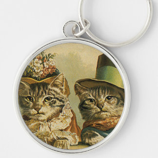 Vintage Victorian Cats in Hats, Funny Silly Humor Silver-Colored Round Keychain