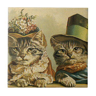 Vintage Victorian Cats in Hats, Funny Silly Humor Small Square Tile