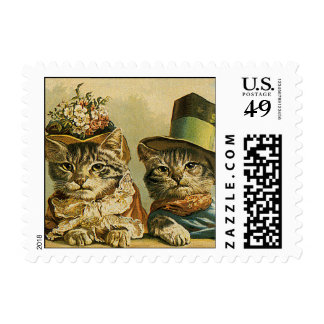 Vintage Victorian Cats in Hats, Funny Silly Humor Stamp