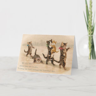 Vintage Victorian Cats Kittens Valentine's Day Holiday Card
