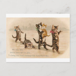 Vintage Victorian Cats Kittens Valentine's Day Holiday Postcard