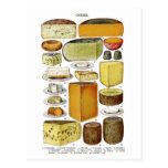 Vintage Victorian Cheese Varieties Illustration Postcard