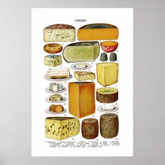Vintage Victorian Cheese Varieties Illustration Poster