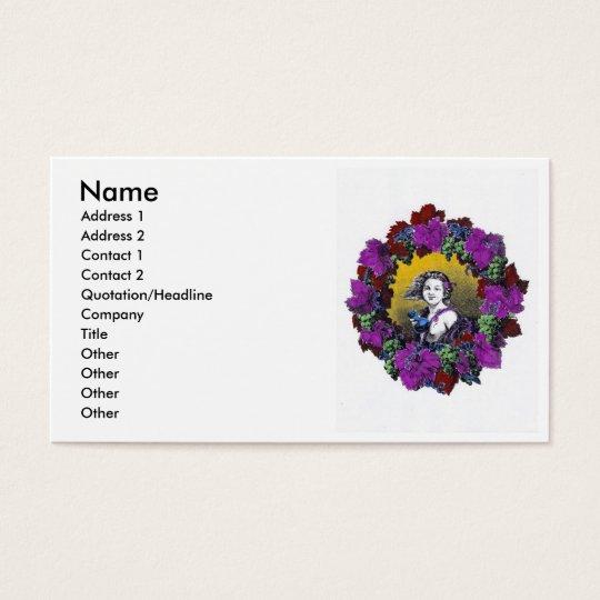 Vintage Victorian cherub graphic in a grape wreath Business Card