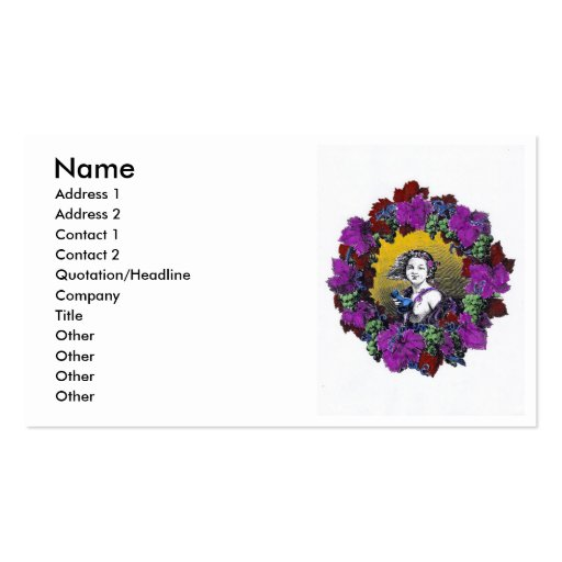Vintage Victorian cherub graphic in a grape wreath Double-Sided Standard Business Cards (Pack Of 100)