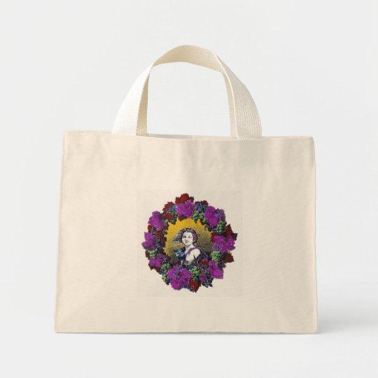 Vintage Victorian cherub graphic in a grape wreath Mini Tote Bag