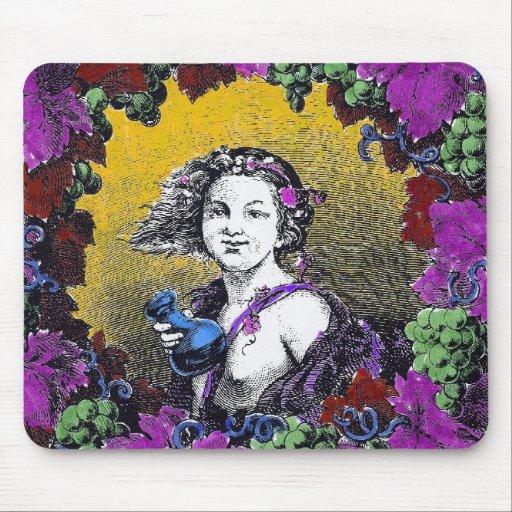 Vintage Victorian cherub graphic in a grape wreath Mousepads
