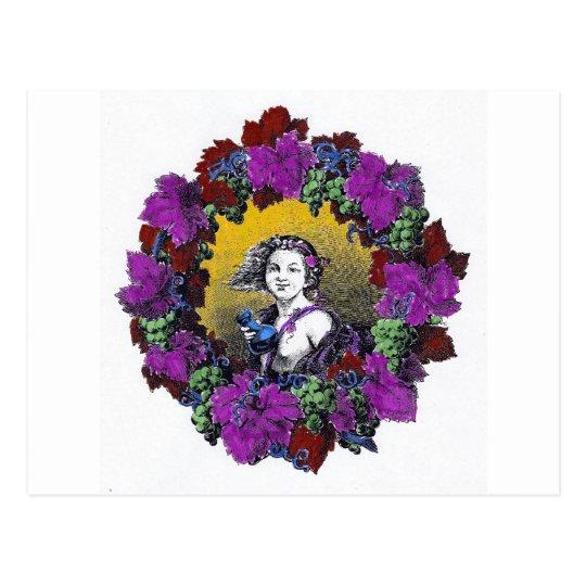 Vintage Victorian cherub graphic in a grape wreath Postcard
