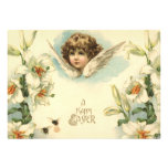 Vintage Victorian Cherub with Easter Lilies Custom Announcement