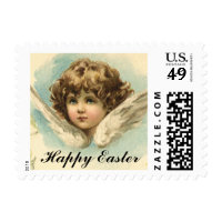 Vintage Victorian Cherub with Easter Lilies Postage Stamps