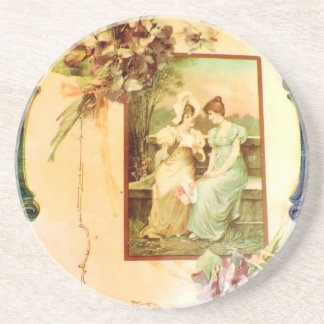Vintage Victorian Chic Ladies in the Garden Coaster