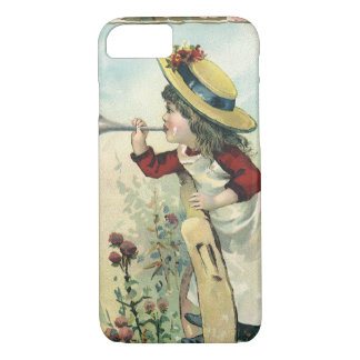 Vintage Victorian Child, Girl Blowing Bugle Meadow iPhone 7 Case