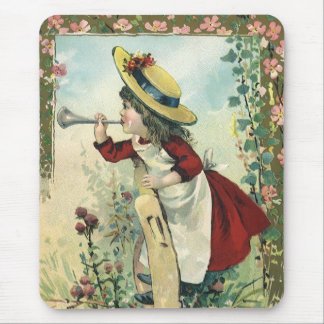 Vintage Victorian Child, Girl Blowing Bugle Meadow Mouse Pad
