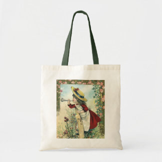 Vintage Victorian Child, Girl Blowing Bugle Meadow Tote Bag