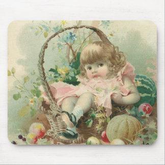Vintage Victorian Child, Girl Spring Fruit Basket Mouse Pad