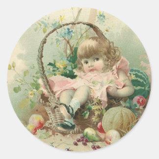 Vintage Victorian Child, Girl Spring Fruit Basket Round Stickers
