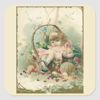 Vintage Victorian Child, Girl Spring Fruit Basket Square Sticker