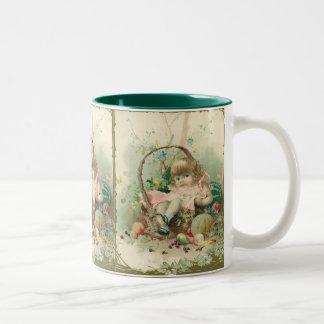 Vintage Victorian Child, Girl Spring Fruit Basket Two-Tone Coffee Mug