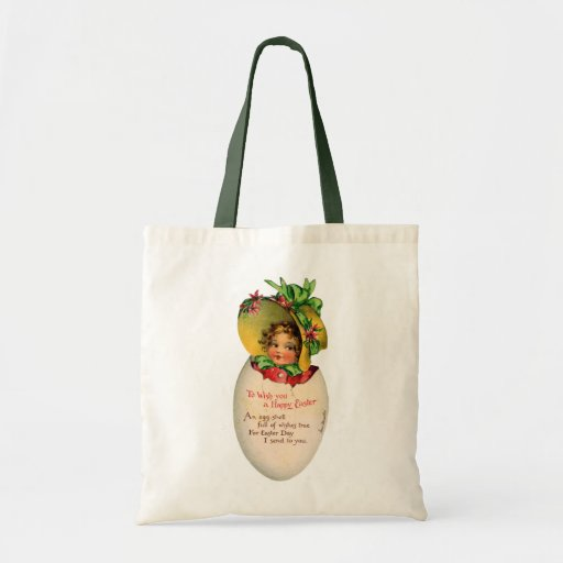 Vintage Victorian Child in an Easter Egg Tote Bags
