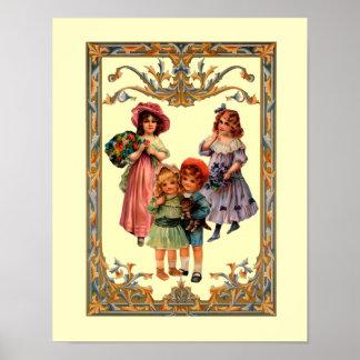 Vintage Victorian Children Art Poster