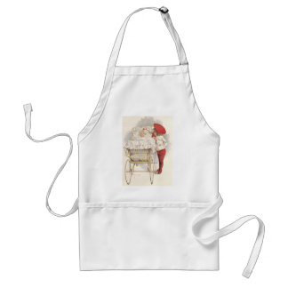 Vintage Victorian Children, Child and Baby in Pram Adult Apron