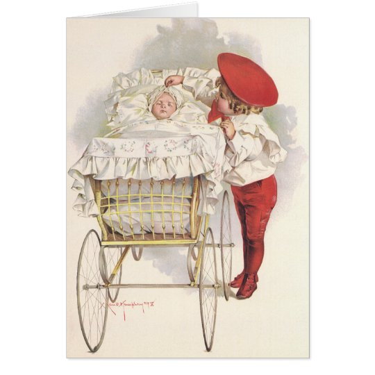 Vintage Victorian Children, Child and Baby in Pram Card