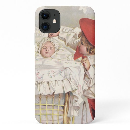 Vintage Victorian Children, Child and Baby in Pram iPhone 11 Case