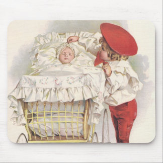 Vintage Victorian Children, Child and Baby in Pram Mouse Pad