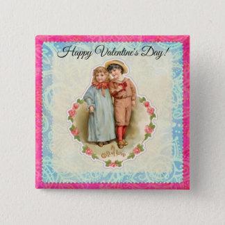 Vintage Victorian Children Gift of Love Valentine Button