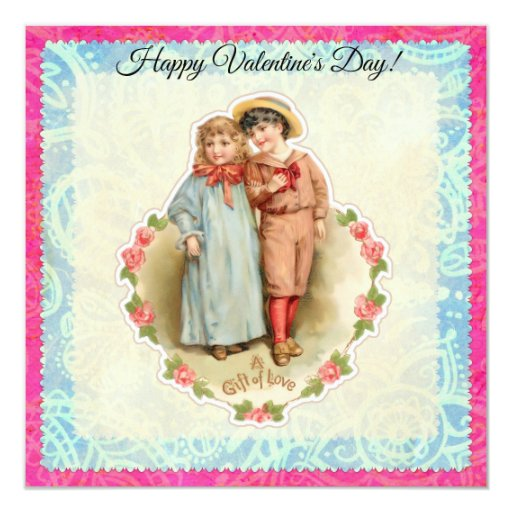 Vintage Victorian Children Gift of Love Valentine Card