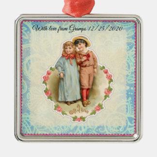 Vintage Victorian Children Gift of Love Valentine Metal Ornament