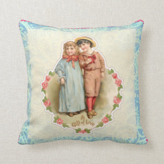 Vintage Victorian Children Gift of Love Valentine Throw Pillow