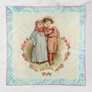 Vintage Victorian Children Gift of Love Valentine Trinket Trays