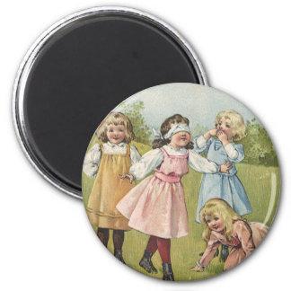 Vintage Victorian Children Playing Blindfold Games Magnet