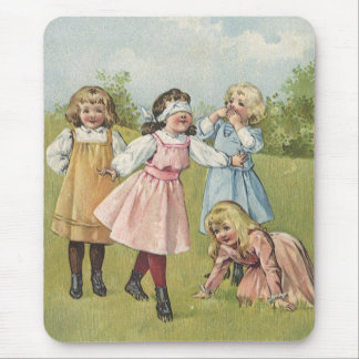 Vintage Victorian Children Playing Blindfold Games Mouse Pad