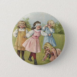 Vintage Victorian Children Playing Blindfold Games Pinback Button