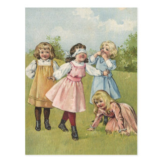 Vintage Victorian Children Playing Blindfold Games Postcard