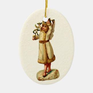 Vintage Victorian Christmas Angel & Mistletoe Double-Sided Oval Ceramic Christmas Ornament